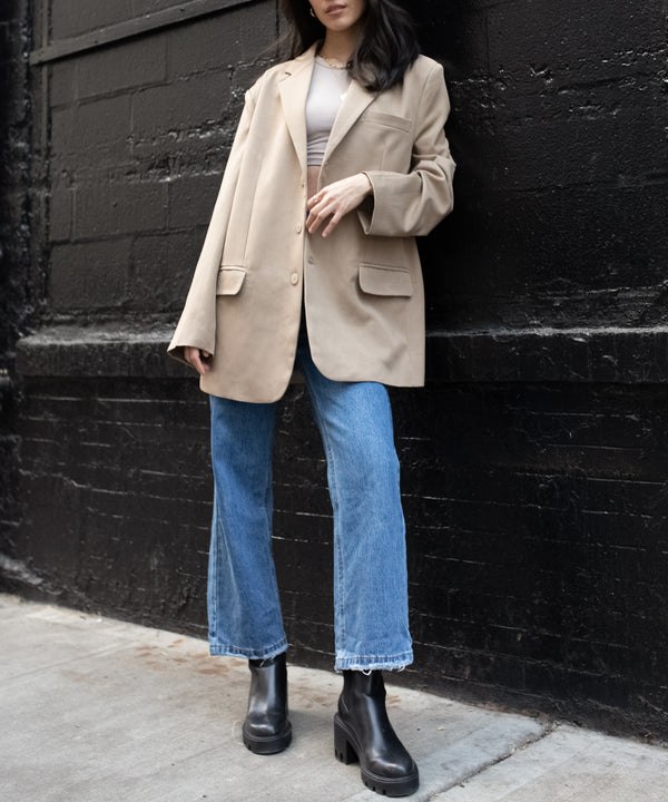 Super oversized blazer in beige | The Dallant | Korean Independent Designers