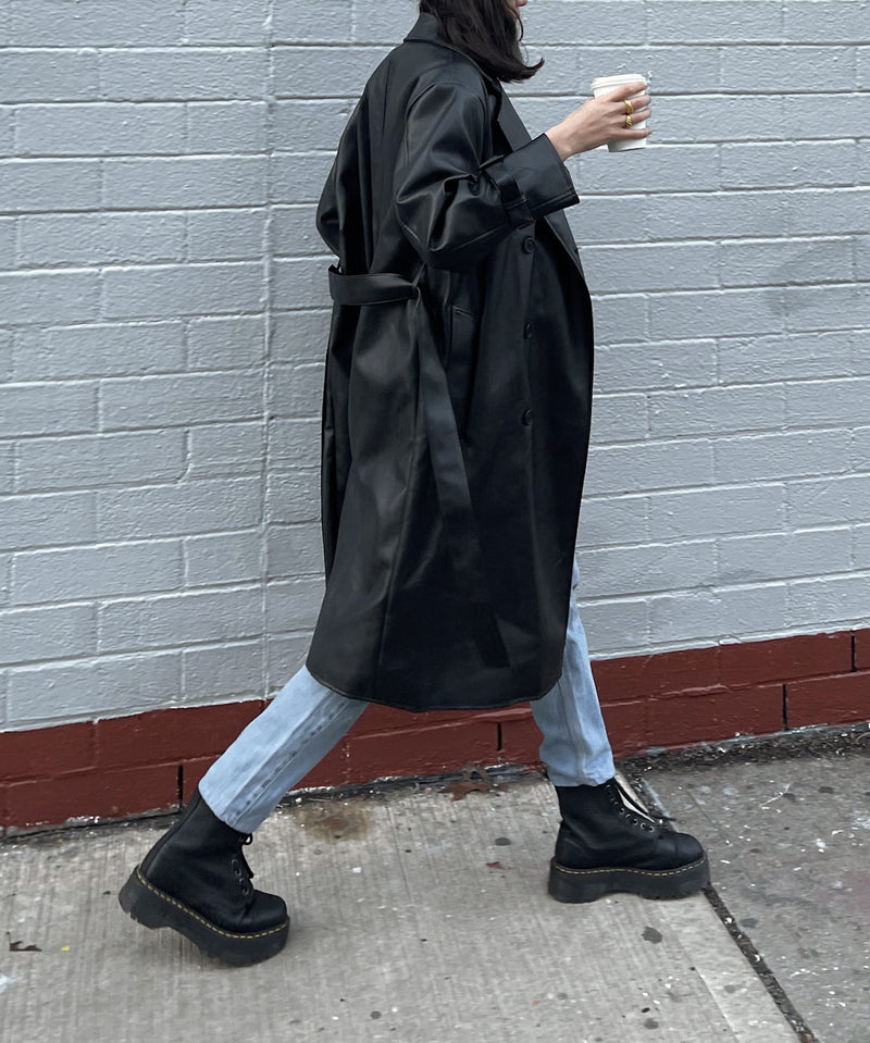 Super oversized vegan leather trench coat | The Dallant | Korean Independent Designers