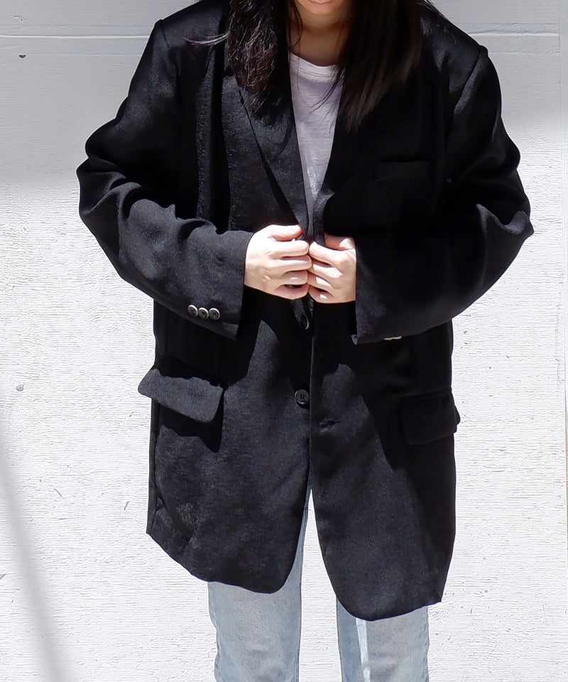 Super oversized linen blazer in black