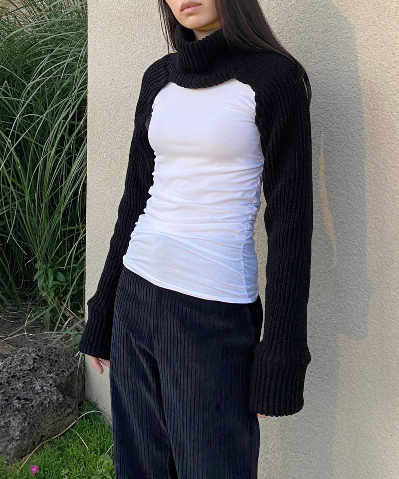 Turtleneck knit bolero sleeve shrug sweater in black | The Dallant | Korean Fashion Designers