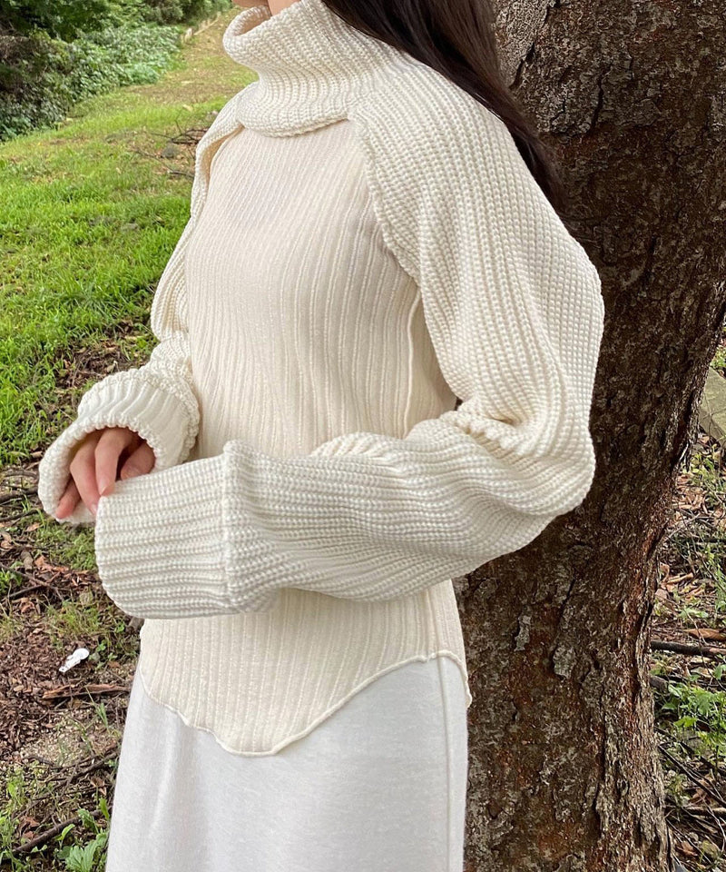 Turtleneck knit bolero sleeve shrug sweater in ivory | The Dallant | Korean Fashion Designers