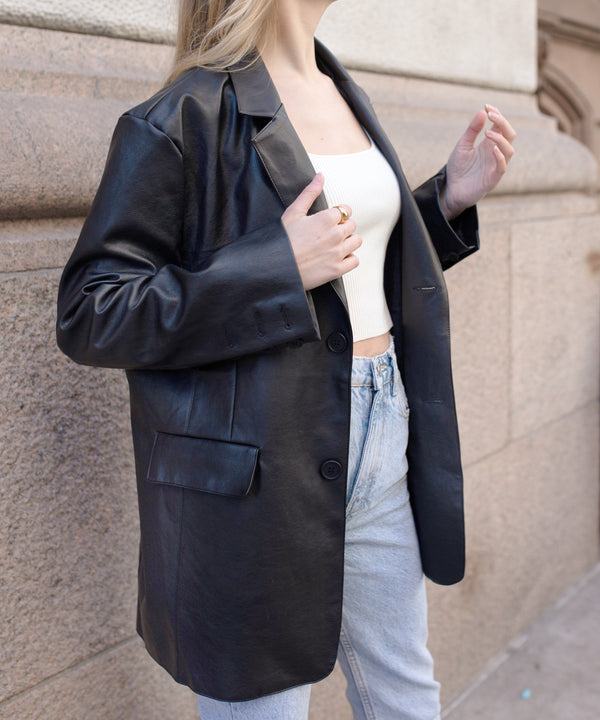 Vegan leather super oversized blazer | The Dallant | Korean Independent Designers
