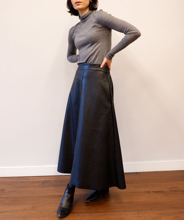 Vegan leather midi skirt - The Dallant