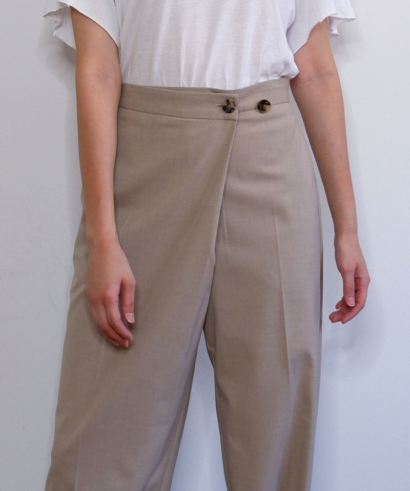 Wrap front wide-leg trousers