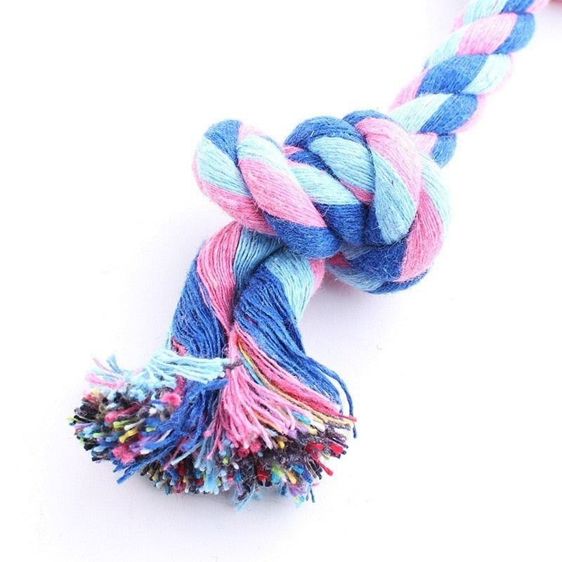 17cm Pet Dog Toy Double Knot Cotton Rope Braided Bone Shape Puppy Chew Toy Cleaning Tooth Randomly Send