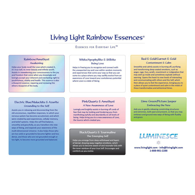 Laminated Full Colour Chart of the Living Light Rainbow Essences - Set One