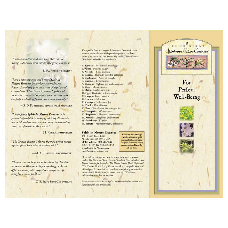 Downloadable PDF - Spirit-in-Nature Essences Brochure - for People