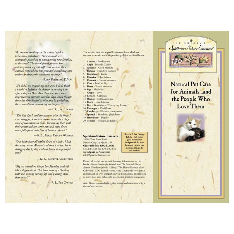 Downloadable PDF - Spirit-in-Nature Essences Brochure - for Pets
