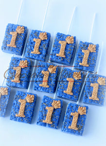 Royal Prince Rice Krispie treats Royal Blue Gold Desserts Royal Blue Gold First Birthday Prince Party