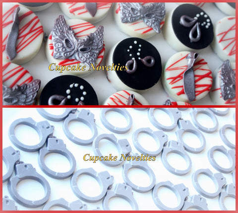 50 Shades of Grey Party Favors Chocolate Oreos Cookies Tie Mask Handcuffs Edible Dessert Table Valentine's Day Ana Christian Bridal Shower