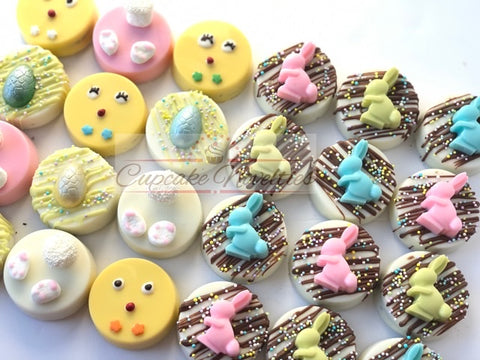Easter Cookies Easter Chocolate Easter Bunny Basket Gifts Chocolate Oreos Cookies Bunnies Birthday Baby Shower Party Favors Spring Garden