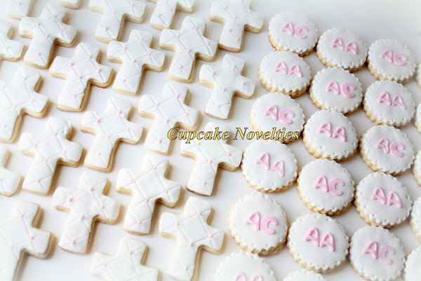 First Holy Communion Baptism Christening Cross Cookies Gifts Custom Decorated Sugar Cookies Edible Christian Baptism Favors Dessert
