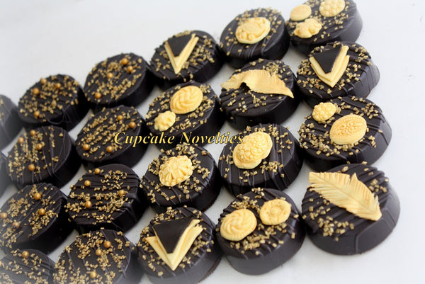Art Deco Cookies Black Gold Cookies Great Gatsby Cookies Great Gatsby Party 1920s Party Black Gold Chocolate Pretzels Gatsby Party Favor Art