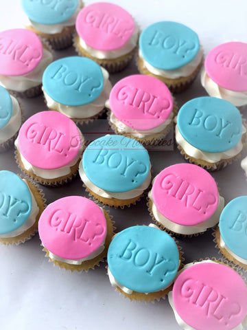 Gender Reveal Cupcakes Boy Girl Baby Shower Cupcakes - 1 dozen