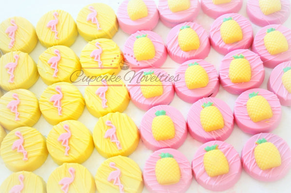 Pineapple Cookies Flamingo Favors Pineapple Chocolate Oreos Tropical Party Luau Cookies Luau Birthday Lets Flamingle Summer Party Luau Party