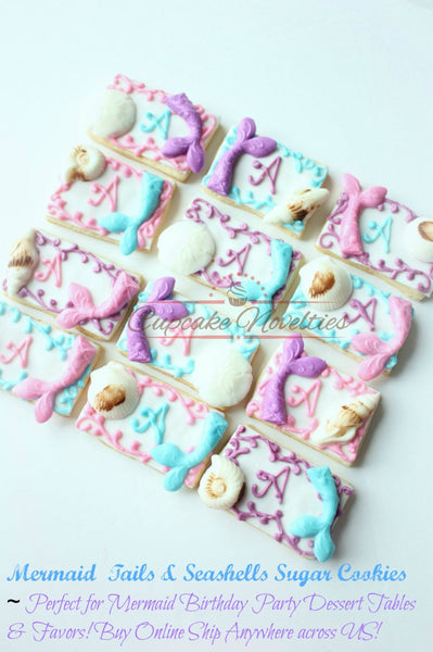 Mermaid Birthday Mermaid Cookies Seashell Cookies Under the Sea Bridal Shower Sea Birthday Seashell Cookie Ocean Beach Wedding Favor Mermaid