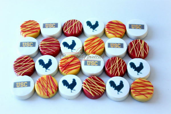 USC Graduation Cookies Graduation Favors Usc Cookies Red Gold Cookies Cardinal Gold Chocolate Oreos USC Party USC Grad College Cookies Logo
