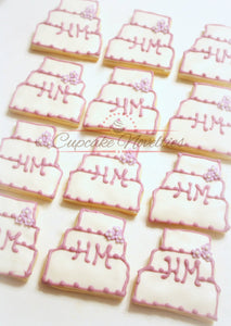 Wedding Cake Cookies Wedding Cookies Wedding Favor Bridal Shower Cookies Bridal Shower Favor Monogram Cookies Bachelorette Party Bride Groom