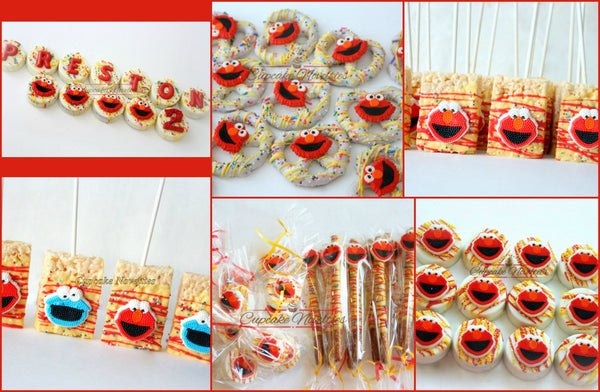 Elmo Cookies Elmo Birthday Party Favors Elmo Party Sesame Street Favor Birthday Party Chocolate Pretzels Dessert Table Classroom Treats Gift