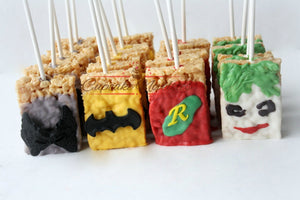 Batman Birthday Super Hero Birthday Superhero Birthday Batman Party Favors Batman Rice Krispie Treats Batman Robin Joker Catwoman DC Comics