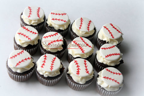Baseball Birthday Sports Birthday Baseball Cupcakes Fondant Cupcake Toppers Edible Baseballs Fondant Baseball MLB Party Baseball Party Ideas