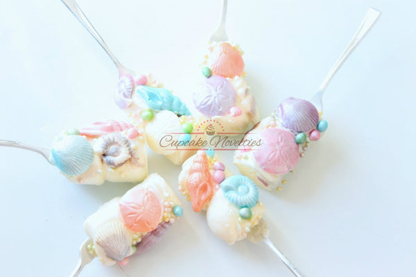Mermaid Birthday Seashell Birthday Mermaid Cookies Dinglehopper Pops Under the Sea Birthday Chocolate Marshmallow Pops Ocean Beach Wedding