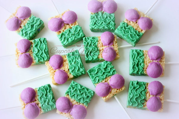 Mermaid Birthday Purple Green Mermaid Dress Cookies Seashells Under the Sea Baby Shower Bridal Shower Idea Ocean Cookie Beach Wedding Favors