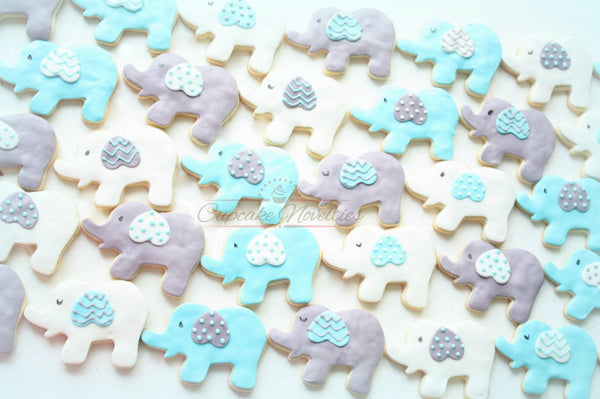 Elephant Baby Shower Boy Baby Shower Blue Gray Elephant Cookies Girl Baby Shower Pink Gray Elephant Cookies Birthday Elephant Baby Favors