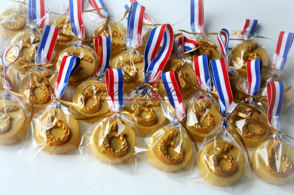 Sports Cookies Sports Birthday Sports Baby Shower Gold Medal Cookies Olympics Cookies Sports Party Favor Olympics Trophy Cookie Award Ribbon