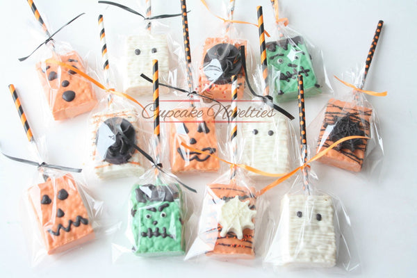 Halloween Cookies Halloween Favors Halloween Chocolate Halloween Rice Krispies Trick or Treat Jack O Lantern Spider Webs Mummy Frankenstein