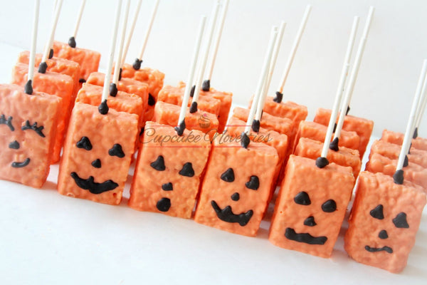 Halloween Cookies Pumpkin Cookies Jack O Lantern Halloween Favors Halloween Rice Krispies Trick or Treat Jack O Lantern Spider Frankenstein
