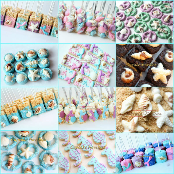 Mermaid Birthday Purple Green Mermaid Cookies Seashell Cookies Under the Sea Baby Shower Bridal Shower Ocean Cookie Beach Wedding Favors