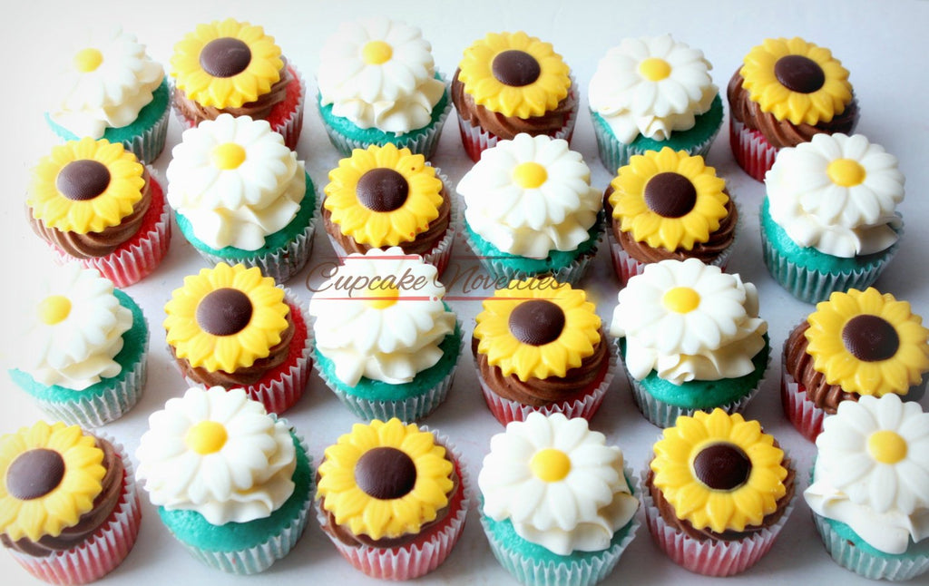 Cowgirl Birthday Party Spring Cupcakes Rustic Sunflower Daisy Toppers Garden Cupcake Mothers Day