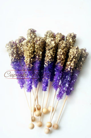 Purple Gold Birthday Pink Gold Birthday Purple Gold Wedding Favors Gold Rock Candy Pink Gold Baby Shower Gold Bridal Shower Dessert Table