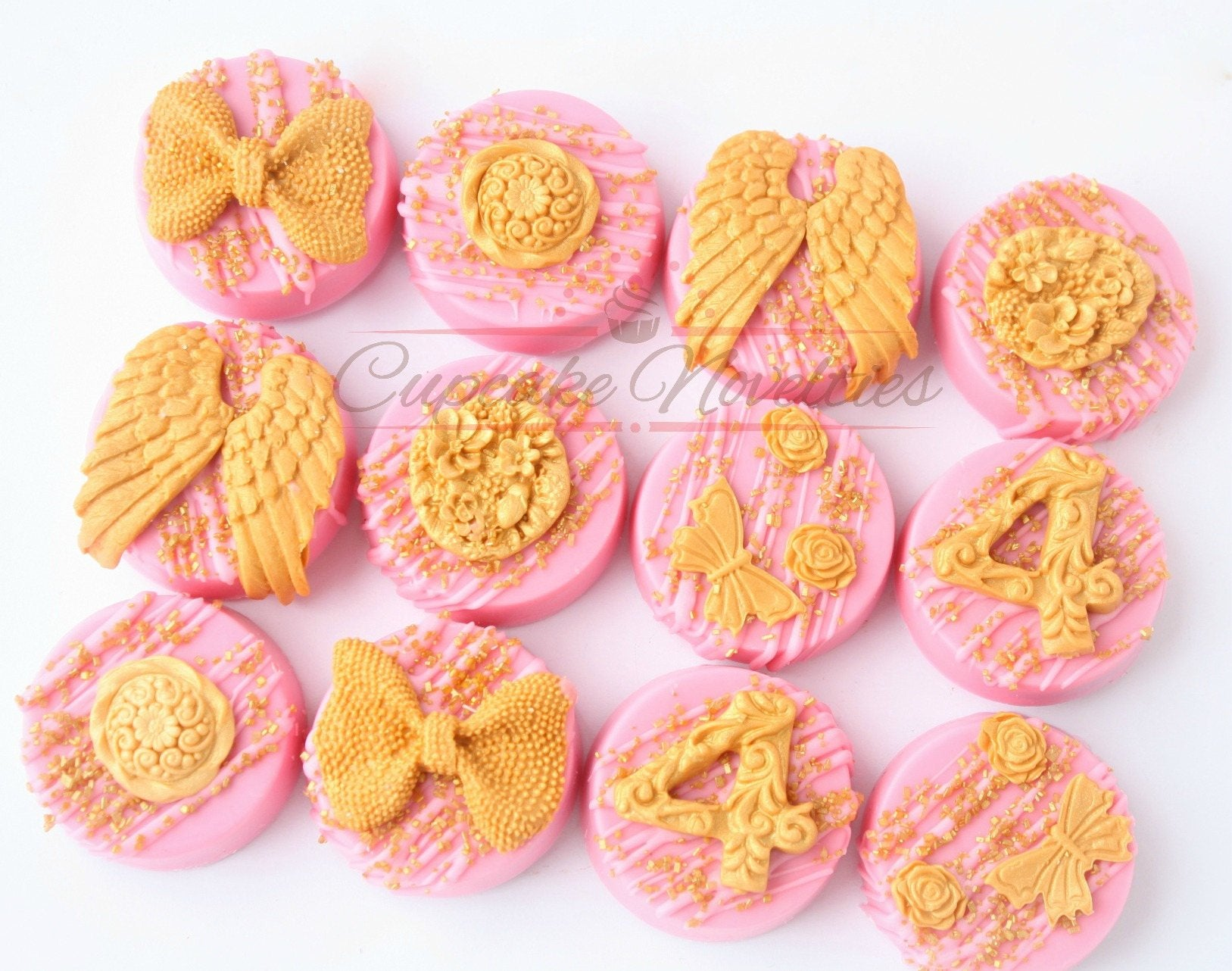 Fairy Birthday Party Fairy Tea Party Fairy Cookies Angel Cookies Fairy Garden Pink Gold Birthday Pink Gold Baby Shower First Communion Favor