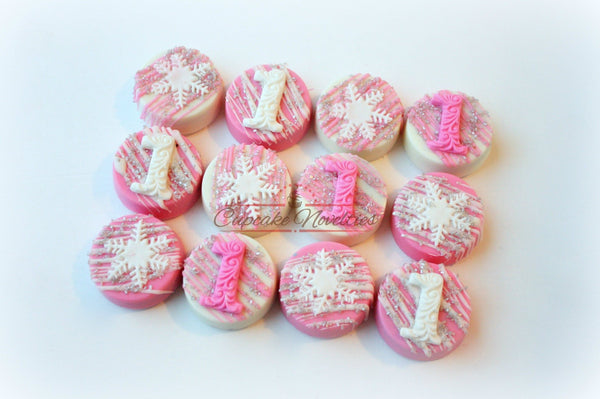 Winter Wonderland Birthday Snowflake Birthday Party Snowflake Cookies Chocolate Oreos Pink Silver White Winter Wonderland Baby Shower Favor