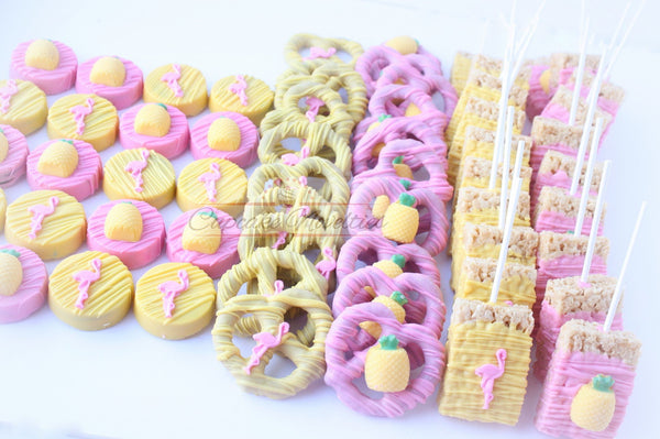 Flamingo Party Pineapple Party Pineapple Cookies Flamingo Favors Chocolate Pretzels Tropical Party Luau Cookies Luau Birthday Lets Flamingle