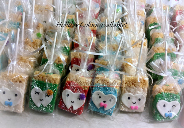 Dentist Gift Tooth Cookies Teeth Chocolate dipped Rice Krispie Treats Dental Hygienist Assistant Tooth Fairy Dental Office Opening Favor