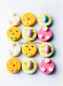 Easter Cookies Easter Basket Edible Gifts Chocolate Oreos Cookies Pops Chicks Bunnies Eggs Birthday Baby Shower Party Favors Spring Garden