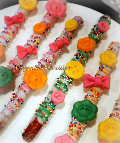 Lalaloopsy Birthday Gourmet Chocolate dipped Pretzels Cookies Party Favors Classroom Treats Dessert Table Buttons Bows Blossom Sprinkles