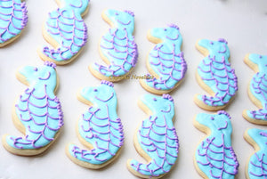 Under the Sea Birthday Baby Shower Bridal Shower Seahorse Sugar Cookies Edible Favors Custom Decorated Ocean Nautical Beach Mermaid Birthday