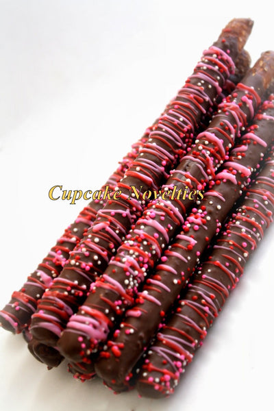 Brown Pink Sweet Shop Candy Shop Birthday Chocolate dipped Pretzels Dessert Table Cupcake Party Favor Classroom Treats Edible Gift Sprinkles