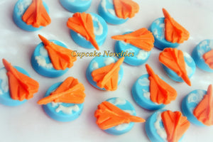 Planes Birthday Airplane Cookies Chocolate Oreos Cookies Aviation Party Favors Up Up Away Baby Shower Planes Fire and Rescue birthday Favors