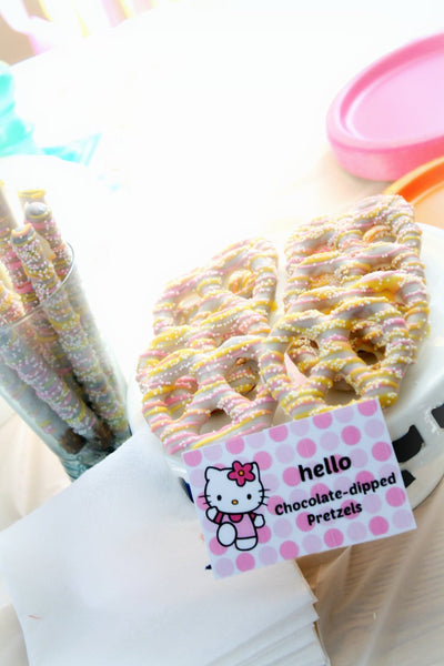 Pink Yellow White Chocolate Dipped Pretzels Birthday Baby Shower Favors Kitty Birthday Spring Cookies Pastel Colors Spring Bridal Shower