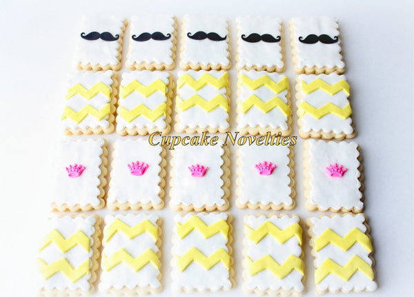 Mustache Cookies Tiaras Cookies Mustache Birthday Baby Shower Little Man Princess Birthday Crown Pink Yellow Chevron Cookies Edible Favors