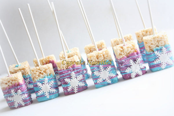 Snowflake Birthday Snowflakes Chocolate dipped Rice Krispie Treats Winter Snowflake Rice Krispie Winter Wonderland Winter Party Favor