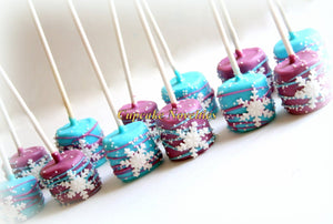 Snowflake Birthday Snowflakes Chocolate dipped Marshmallows Snow Cookies Winter Snowflake Marshmallows Winter Wonderland Snow Party Favors