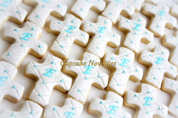 Baptism Cookies First Holy Communion Cookies Christening Cookies Cross Cookies Baptism Gifts Edible Favors Baptism Favors Monogram Cookies