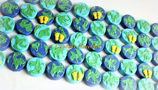 Earth Cookies Astronaut Birthday Rocket Birthday Earth Chocolate Oreos Welcome Baby Shower Travel Favors Party Idea Globe Map Space Birthday