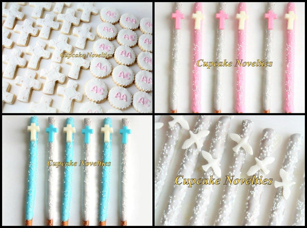 Dove Cookies First Holy Communion Baptism Favors Christening Dove Pretzels Chocolate Dipped Pretzels Cookies Gift Baptism Favors Cross Doves